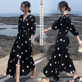 2019韓国のおしゃれなワンピースのロングスカートの春柄ワンピースは、ゆったりとした人気のフランスのワンピース