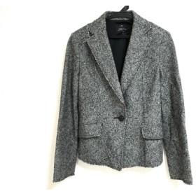 【中古】 ニジュウサンク 23区 ジャケット サイズ40 M レディース 黒 ベージュ 肩パッド/ラメ