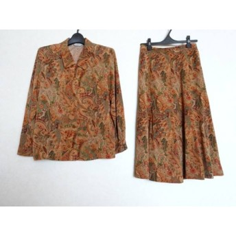 【中古】 エバンピコネ EVAN-PICONE スカートセットアップ レディース ブラウン マルチ 肩パッド