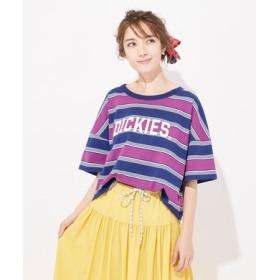 Dickies 【ライトオン40周年記念限定モデル】マルチボーダーロゴTシャツ レディース ピンク
