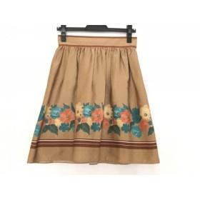 【中古】 インディビ INDIVI スカート サイズ38 M レディース 美品 ライトブラウン マルチ