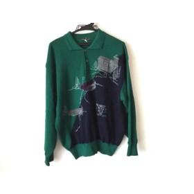 【中古】 ハーディエイミス HARDY AMIES SPORT 長袖セーター サイズ4 XL メンズ グリーン 黒 マルチ