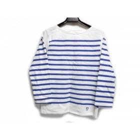 【中古】 オーシバル ORCIVAL 七分袖Tシャツ レディース 白 ブルー ボーダー