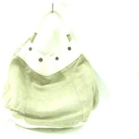 【中古】 プラダ PRADA トートバッグ - BR1355 ベージュ アイボリー キャンバス レザー