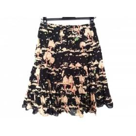 【中古】 フランシュリッペ franchelippee スカート サイズM レディース 黒 ベージュ マルチ フリル