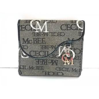 【中古】 セシルマクビー CECILMcBEE 2つ折り財布 黒 白 マルチ がま口 ジャガード レザー