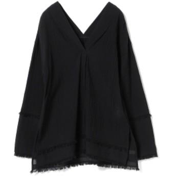 Ray BEAMS / ヨウリュウ フリンジ Vネックシャツ レディース カジュアルシャツ BLACK ONE SIZE