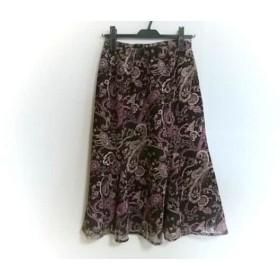 【中古】 レリアン ロングスカート サイズ9 M レディース ダークブラウン アイボリー ピンク 花柄