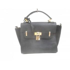 【中古】 ファルチ ニューヨーク Falchi New York ハンドバッグ 美品 黒 レザー スエード