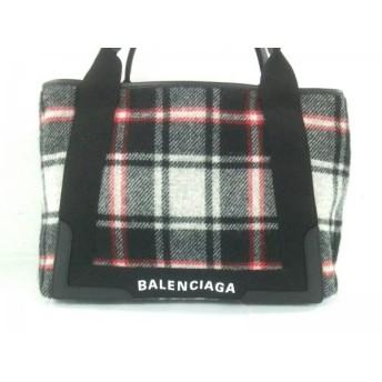【中古】 バレンシアガ トートバッグ ネイビーカバS 339933 ダークネイビー レッド マルチ チェック柄
