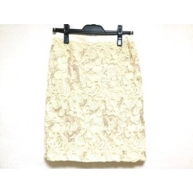 【中古】 ジャスグリッティー JUSGLITTY スカート サイズ2 M レディース アイボリー ベージュ ビーズ