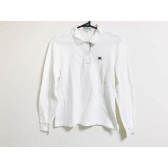 【中古】 バーバリーズ Burberry's 長袖ポロシャツ サイズM メンズ 白 黒 オレンジ