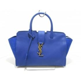 【中古】 サンローランパリ SAINT LAURENT PARIS ハンドバッグ 新品同様 436834 ブルー レザー スエード