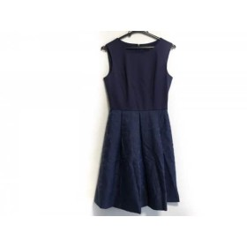 【中古】 エムプルミエ M-PREMIER ワンピース サイズ34 S レディース 美品 ブルー ジャガード/花柄