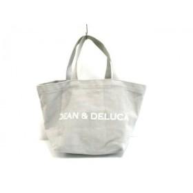 【中古】 ディーンアンドデルーカ DEAN & DELUCA トートバッグ ライトグレー 白 キャンバス