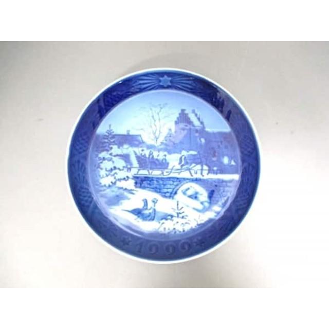 【中古】 ロイヤルコペンハーゲン プレート 新品同様 ネイビー 白 1999/クリスマスプレート 陶器
