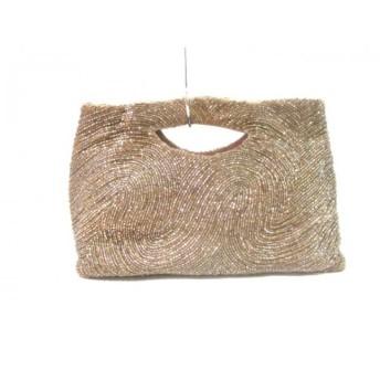 【中古】 モイナ MOYNA ハンドバッグ 美品 ゴールド ライトブラウン ビーズ 化学繊維 プラスチック