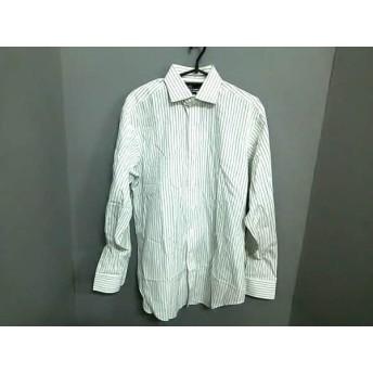 【中古】 ポロラルフローレン 長袖シャツ サイズ15 1/2-34 メンズ 白 ダークグレー ストライプ