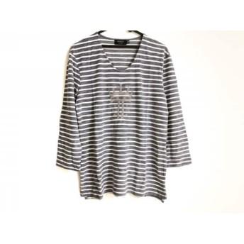 【中古】 エポカ EPOCA 七分袖Tシャツ サイズ48 XL メンズ 白 ダークネイビー ボーダー