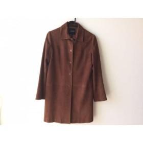 【中古】 ランバンコレクション コート サイズ38 M レディース ダークブラウン 冬物/ラムレザー