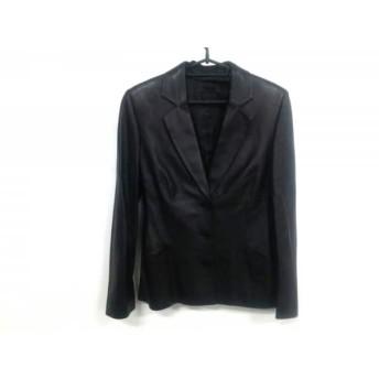 【中古】 ロエベ LOEWE ジャケット サイズ38 M レディース 黒 ラムレザー