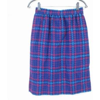 【中古】 ジバンシー GIVENCHY スカート サイズ12 L レディース ブルー レッド ライトブルー チェック柄
