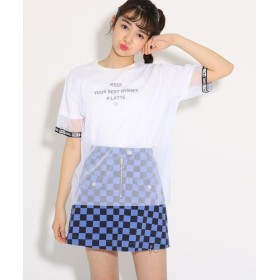 【60%OFF】 ピンク ラテ(ティーン) チュール重ね Tシャツ レディース オフホワイト(003) 02(M165cm) 【PINK latte (Teen)】 【セール開催中】