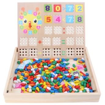 子供 木製 パズル すうじ 図形 時間 時計 学習玩具 おもちゃ