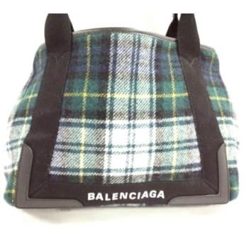 【中古】 バレンシアガ トートバッグ ネイビーカバS 339933 グリーン マルチ チェック柄 ウール レザー