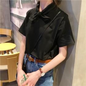 Tシャツ - G & L Style レディース 半袖 トップス カットソー シンプル カジュアル ロゴプリント 半袖Tシャツ リボン風 5939