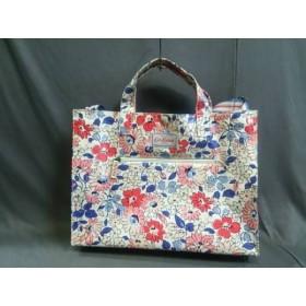 【中古】 キャスキッドソン トートバッグ 美品 白 ブルー マルチ 花柄 コーティングキャンバス