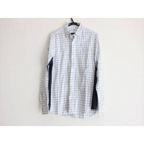 【中古】 ブラックアンドブルー 長袖シャツ サイズ2 M メンズ 白 ダークネイビー グリーン チェック柄