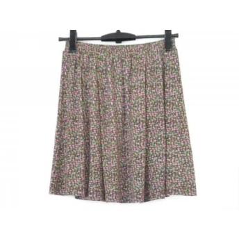 【中古】 アニエスベー ミニスカート サイズ1 S レディース 美品 ボルドー グリーン マルチ 花柄