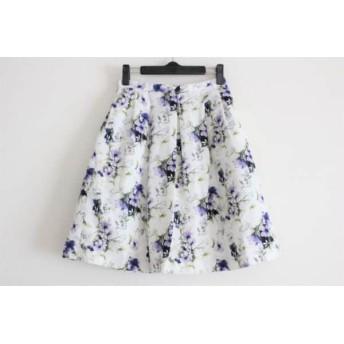 【中古】 ロペピクニック RopePicnic スカート サイズ36 S レディース 白 ネイビー パープル 花柄