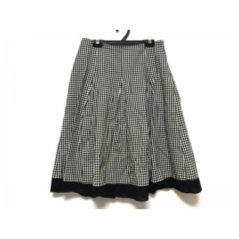 【中古】 ギャラリービスコンティ スカート サイズ2 M レディース アイボリー 黒 チェック柄