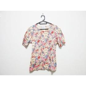 【中古】 フェンディ FENDI 半袖Tシャツ サイズS レディース ベージュ ピンク マルチ