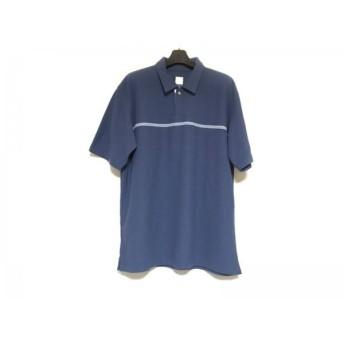 【中古】 ノースフェイス THE NORTH FACE 半袖ポロシャツ サイズL メンズ ネイビー ライトブルー 白