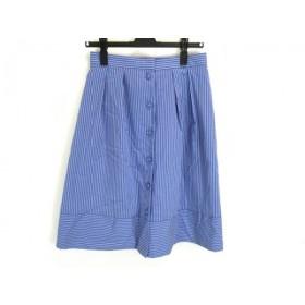 【中古】 スープ SOUP スカート サイズ9 M レディース 美品 ブルー 白 ストライプ