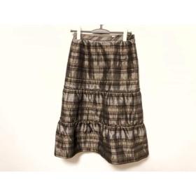 【中古】 レリアン Leilian スカート サイズ11 M レディース 美品 ライトブラウン グレー
