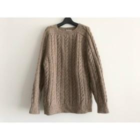 【中古】 インバーアラン Inverallan 長袖セーター サイズ36 S メンズ ダークブラウン アイボリー