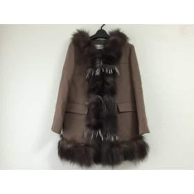 【中古】 フランクウィーンセンス コート サイズ40 M レディース ダークブラウン フォックスファー/冬物