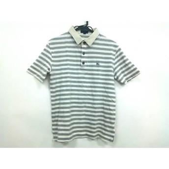 【中古】 バーバリーブルーレーベル 半袖ポロシャツ サイズM メンズ グレー 白 ボーダー