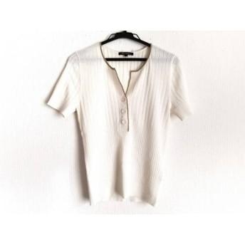 【中古】 ニジュウサンク 23区 半袖セーター サイズ32 XS レディース 白 ゴールド