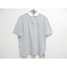 【中古】 ポロラルフローレン 半袖ポロシャツ サイズLL メンズ グレー 白 ラガーシャツ