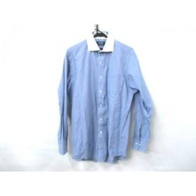 【中古】 ノーブランド 長袖シャツ サイズL メンズ ブルー ホワイト