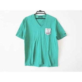 【中古】 ギルドプライム GUILD PRIME 半袖Tシャツ サイズ3 L メンズ グリーン Vネック/スパンコール