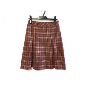 【中古】 バーバリーブルーレーベル スカート サイズ38 M レディース レッド 黒 チェック柄