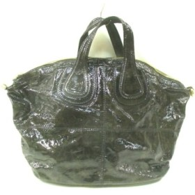 【中古】 ジバンシー GIVENCHY ハンドバッグ ナイチンゲール 黒 ダークグレー エナメル(レザー)