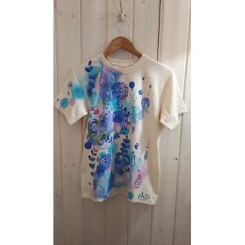 ユニセックスsサイズ いちおし!美しいブルー系ボタニカル 手描きTシャツ