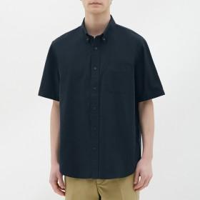 (GU)オックスフォードシャツ(半袖) NAVY S